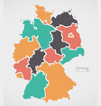 germany map with states and modern round shapes vector image vector image