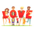 group of smiling people holding the word love vector image vector image