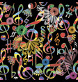 music notes colorful seamless pattern musical vector image
