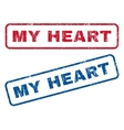 My Heart Rubber Stamps vector image