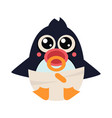 penguin baby in pampers with a nipple vector image