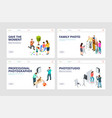 photo shoot landing pages isometric professional vector image vector image