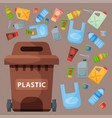recycling garbage plastic elements trash tires vector image vector image