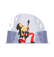rock musician brutal man playing guitar rock vector image