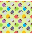 Seamless pattern with the colored coffee mugs vector image