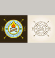 set camp logo with campfire camping scout vector image vector image