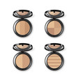 set of face makeup powder in case with mirror vector image vector image