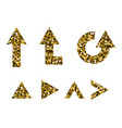 set of golden shiny arrows vector image