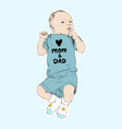 sketch of happy baby boy hand drawn line vector image