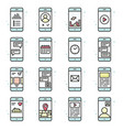 smart phone functions and apps icon set vector image vector image