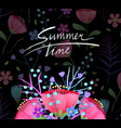 summer time vintage blooming flowers greeting card vector image