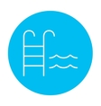 Swimming pool with ladder line icon vector image vector image