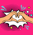 two hands heart sign vector image vector image