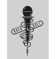 Vintage music poster with a microphone Rock sign vector image vector image