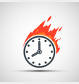 watch dial icon on fire clock face logo vector image vector image