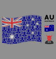 waving australia flag collage devil items vector image vector image