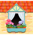 Window and flowers vector image
