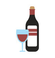 wine bottle and cup glass vector image vector image
