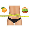woman belly with measuring tape and food choice vector image vector image