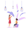 woman workplace loft modern plant coworking vector image