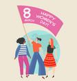 women differtnt nationalities holding flag vector image vector image