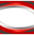 Grey and red waves on white background vector image
