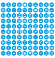 100 intelligent icons set blue vector image vector image