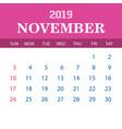 2019 calendar template - november