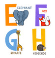 animal alphabet e f g and h vector image