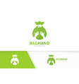 bag and hands logo combination sack and vector image vector image