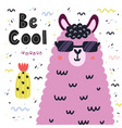 be cool card with a cute llama in sunglasses vector image vector image