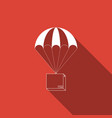 box flying on parachute icon with long shadow vector image vector image