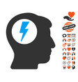 brain electric shock icon with dating bonus vector image
