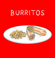 burritos with fried potatoes hand drawn on white vector image vector image