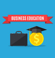 business briefcase graduation cap gold coins vector image vector image
