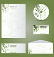 Business stationery layout with floral design vector image vector image