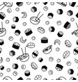 bw seamless sushi pattern vector image vector image