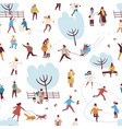 cartoon people enjoy outdoors activity at winter vector image vector image