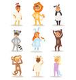 children wearing fancy dress costumes animals vector image vector image