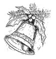 christmas bell on tree hand drawing vector image