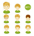 cute blonde little boys with various hair style vector image