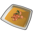delicious soup with shrimp on white porcelain vector image vector image