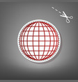 earth globe sign red icon with for vector image vector image