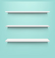empty shelves with mint background vector image