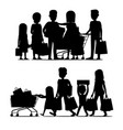 family making purchases silhouette set vector image vector image
