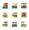 Flat style cafe and bungalow icons set vector image