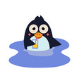 funny swimming penguin with a coctail vector image vector image