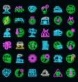 global warming icons set neon vector image vector image
