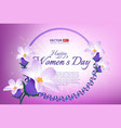 greeting card with 8 march happy international vector image vector image