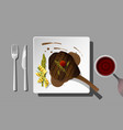 grilled beef tomahawk steak with red wine vector image